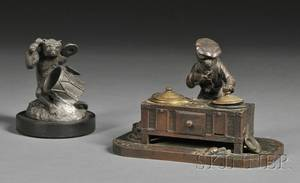 Two Whimsical Figural Metal Desk Articles