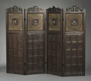 Renaissance Revival Carved Mahogany Fourpanel Screen
