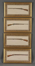 French School 19th Century Eight Framed Watercolors Depicting Antique Rifles