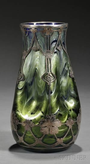 Art Nouveau Silver Overlay Iridescent Glass Vase