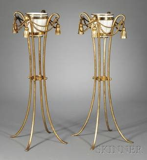 Pair of Porcelain Jardinieres on Giltmetal Stands