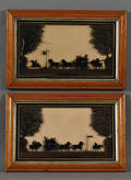 British School 19th20th Century Lot of Two Reversepainted Silhouettes of Coaching Scenes On the Way to the Derby1827