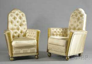 Pair of Art Deco Giltwood and Satin Upholstered Armchairs
