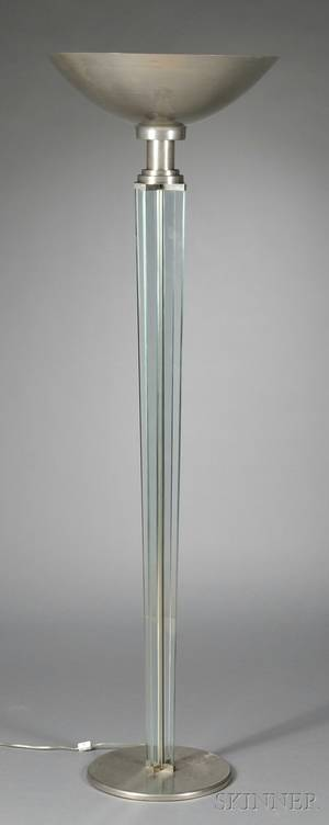 Art Deco Aluminum and Glass Torchiere