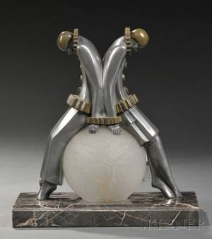 Art Deco Pewter Table Lamp with Harlequin Figures