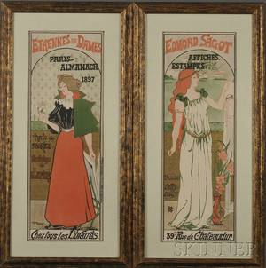 Gustave Marie French 19th20th Century Lot of Two Color Lithographs Edmond Sagot