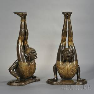 Pair of Venetian Parcelgilt and Carved Wood Blackamoor Acrobat Stands