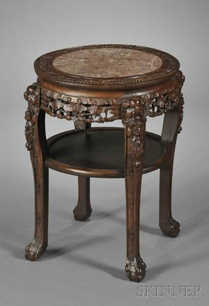 Chinese Export Round Carved Wood Marbletop Table