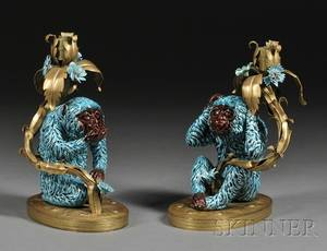 Pair of Majolica and Giltmetal Candlesticks with Two Wise Monkeys