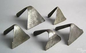 Five wrought iron dough scrapers 19th c