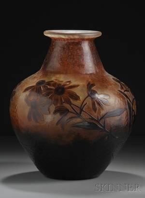 Daum Monumental Cameo Glass Vase