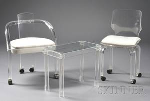 Modern Lucite Armchair Side Chair and Table