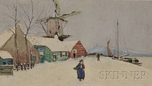 American School 20th Century Winter Scene with Figure