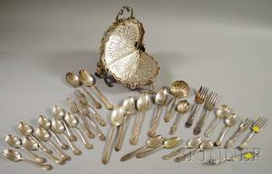 Group of Silver and Silverplated Flatware and a Silverplated Serving Piece