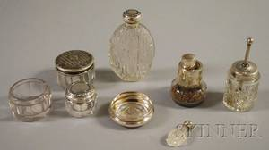 Seven Sterling Silvermounted Perfume Bottles and Ladys Dresser Items