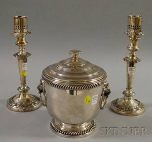 Pair of Silverplated Candlesticks and an International Silverplated Ice Bucket