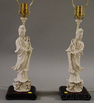 Pair of Blancdechine Guan Yin FiguresTable Lamps