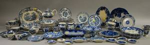 Large Lot of Mostly Blue and White Transferdecorated Tableware