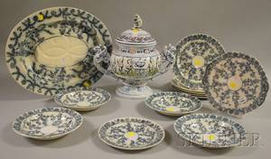 Twelvepiece Copeland Transferdecorated Ironstone Partial Dinner Set and a German Ceramic Footed Punch Tureen with Cover
