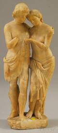 Italian Carved Alabaster Figure of Hercules and a Maiden