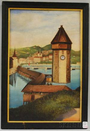 Late 19th Century German School Oil on Canvas Village Scene with Small Timepiece Set into the Clock Tower