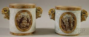 Pair of Continental Gilt Enamel and Sepia Landscapedecorated Porcelain Wine Coolers with Rams Head Handles