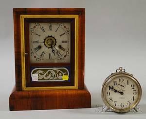 Gilbert Rosewood Veneer Shelf Clock and a Western Clock Big Ben Alarm Clock