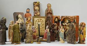 Collection of Mostly Carved and Painted Wood Santos Figures and Icons