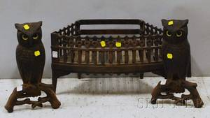 Pair of Bradley  Hubbard Cast Iron Owl Andirons with Yellow Glass Eyes and Gothic Revival Cast Iron Fireplace Basket