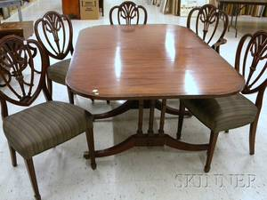 Federalstyle Inlaid Mahogany Dining Table with a Set of Five Upholstered Carved Mahogany Dining Chairs