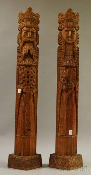 Pair of Provincial Carved Hardwood Figures of a King and Queen