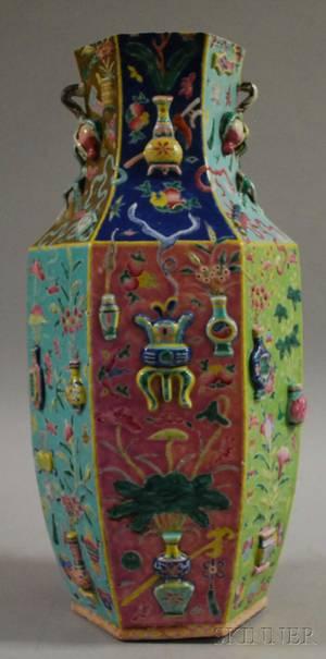 Chinese Polychrome Enameldecorated Porcelain Vase