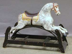 Painted Late 19th Century Carved Wood Gliding Horse