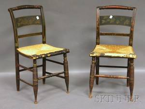 Pair of Painted and Stencildecorated Fancy Side Chairs