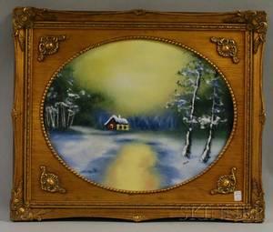 Framed Enamel Plaque Depicting a Cottage in a Landscape