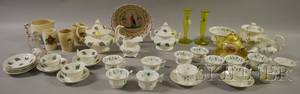 Group of English and Continental Ceramics and Three Glass Table Items
