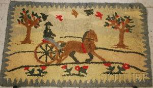Horse Sulky and Driver Pattern Hooked Rug