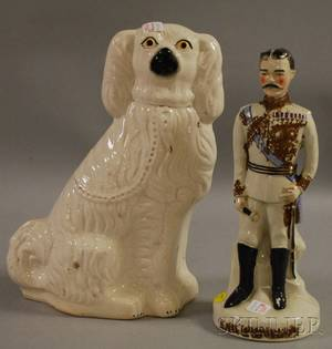 Large Staffordshire Seated Spaniel Figure and a Kitchener Figure
