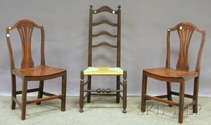 Pair of English Georgian Yewwood Side Chairs and a Slatback Side Chair