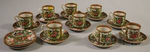 Set of Chinese Export Porcelain Rose Medallion Demitasse Cups and Saucers