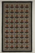 Art Deco Wool Repeating Floral Squares Pattern Hooked Rug