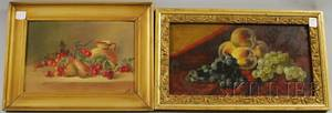 Two 19th20th Century American School Oil on Panel Still Lifes with Cherries and with Fruit
