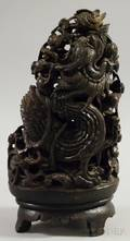 Asian Reticulated Hardwood Figural Carving Depicting a Dragon