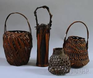 Four Japanese Woven Ikebana Basketry Items