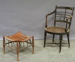 EW Godwin Ebonized Jacobean Armchair with Caned Seat and an Oak Thebes Stool