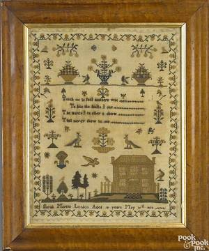 English silk on linen needlework dated 1833