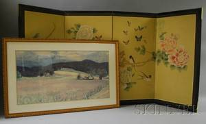 Modern Japanese Painted Fourpanel Floor Screen and a Framed Wolf Kahn Landscape Print
