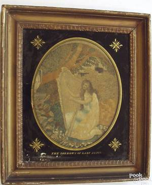 English silk on silk oval needlework of a young woman playing the harp within an eglomise mat
