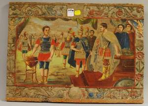 Polychrome Painted Carved Wood Panel Depicting a Scene with Roman Soldiers