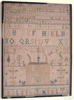 Silk on linen needlework dated 1821 wrought by Ann Steward with alphabet above a house flanked by animals and potted flowers